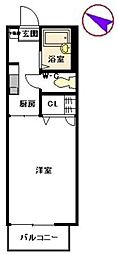 メルベーユ弥永 B[206号室]の間取り