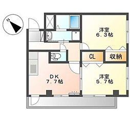 メイプルハウス 4階2DKの間取り