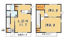 [テラスハウス] 千葉県市川市河原 の賃貸【/】の間取り