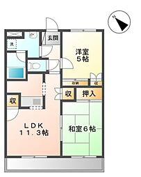 愛知県豊田市市木町1丁目の賃貸アパートの間取り