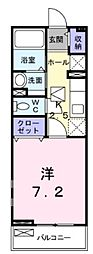 東武東上線 上福岡駅 徒歩6分の賃貸アパート 1階1Kの間取り