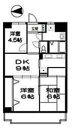 レジデンス伊藤II[6E号室]の間取り