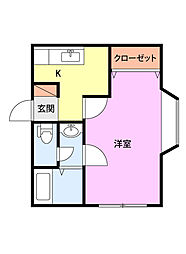 新栄ハイツJ棟 1階1Kの間取り