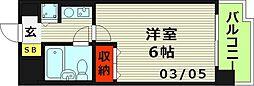 リーガル京橋 7階1Kの間取り