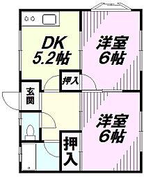 東京都八王子市滝山町2丁目の賃貸アパートの間取り