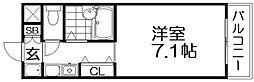 第2ハートビル 6階1Kの間取り
