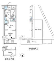 東京メトロ丸ノ内線 中野坂上駅 徒歩3分の賃貸マンション 2階1DKの間取り