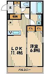京王線 府中駅 徒歩10分の賃貸アパート 2階1LDKの間取り