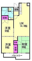 JR高崎線 北本駅 徒歩6分の賃貸マンション 1階3LDKの間取り