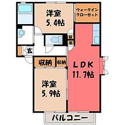 栃木県宇都宮市砥上町の賃貸アパートの間取り