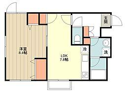 西武新宿線 田無駅 徒歩9分の賃貸マンション 3階1LDKの間取り