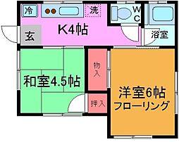 千葉県市川市真間3丁目の賃貸アパートの間取り