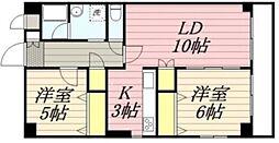 JR中央線 国立駅 徒歩17分の賃貸マンション 3階2LDKの間取り