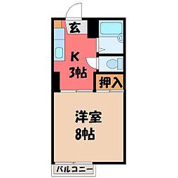 栃木県宇都宮市清住1丁目の賃貸アパートの間取り