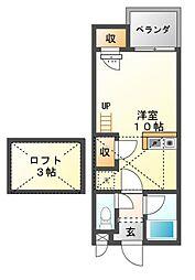 愛知県豊橋市佐藤2丁目の賃貸アパートの間取り