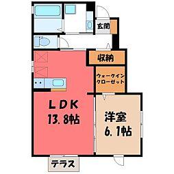 H&A三澤 1階1LDKの間取り