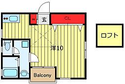 サンボナール 2階ワンルームの間取り