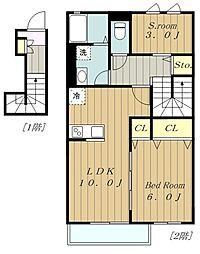 多摩都市モノレール 大塚・帝京大学駅 徒歩17分の賃貸アパート 2階1SLDKの間取り