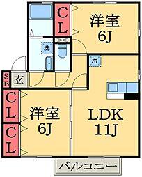 千葉県市原市南国分寺台5丁目の賃貸アパートの間取り