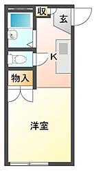 愛知県岡崎市土井町字駒之舞の賃貸アパートの間取り