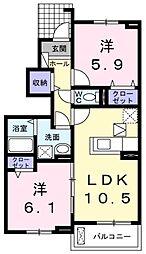 ラ ナチュールI 1階2LDKの間取り