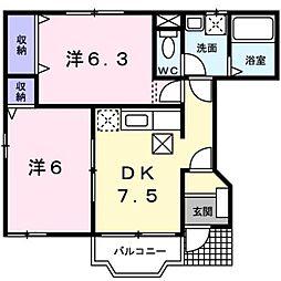 M・シャルマンジャンA 1階2DKの間取り