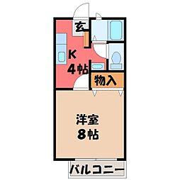 栃木県宇都宮市御幸町の賃貸アパートの間取り