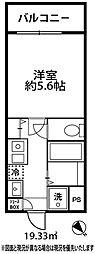 ドミール大倉山[202号室]の間取り