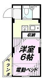 シャトー弥生 3階1Kの間取り