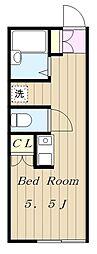 小田急小田原線 読売ランド前駅 徒歩8分の賃貸アパート 1階ワンルームの間取り