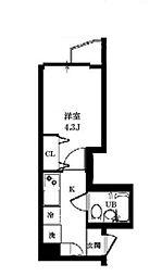 八景舎 東中野 3階1Kの間取り