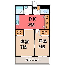 栃木県宇都宮市駒生町の賃貸マンションの間取り