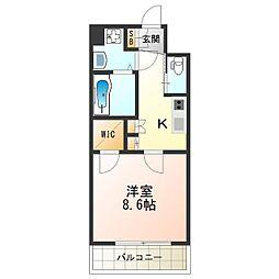 KAUNIS HIRANO(カウニス ヒラノ) 13階1Kの間取り