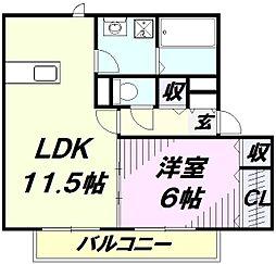 埼玉県狭山市中央2丁目の賃貸アパートの間取り