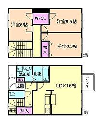 [テラスハウス] 大阪府豊中市本町5丁目 の賃貸【/】の間取り