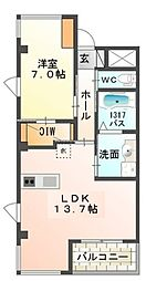 Osaka Metro御堂筋線 なかもず駅 徒歩4分の賃貸マンション 2階1LDKの間取り