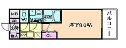 レジデンス大阪福島フォルテ 2階1Kの間取り