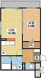 長崎県長崎市平和町の賃貸マンションの間取り