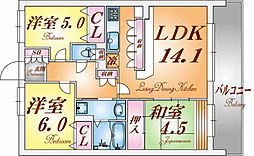 兵庫県神戸市長田区花山町2丁目の賃貸マンションの間取り