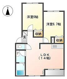 愛知県田原市赤石5丁目の賃貸アパートの間取り