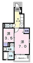 南海高野線 北野田駅 徒歩5分の賃貸アパート 1階1Kの間取り