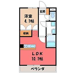 栃木県宇都宮市野沢町の賃貸アパートの間取り