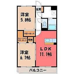東武宇都宮線 西川田駅 徒歩13分の賃貸マンション 3階2LDKの間取り