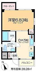 ダイヤモンドヒルズ松崎 4階1DKの間取り