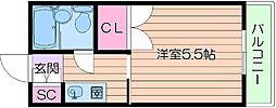 阪急千里線 関大前駅 徒歩17分の賃貸マンション 2階1Kの間取り