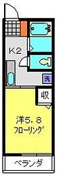 神奈川県横浜市港南区下永谷3丁目の賃貸アパートの間取り