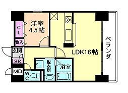 大阪府大阪市北区堂島3丁目の賃貸マンションの間取り