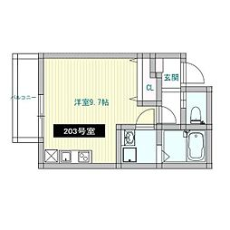 えごの木ハウス(エゴノキハウス) 2階ワンルームの間取り