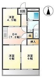 愛知県田原市神戸町新大坪の賃貸アパートの間取り