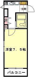JR高崎線 北鴻巣駅 徒歩4分の賃貸マンション 2階1Kの間取り